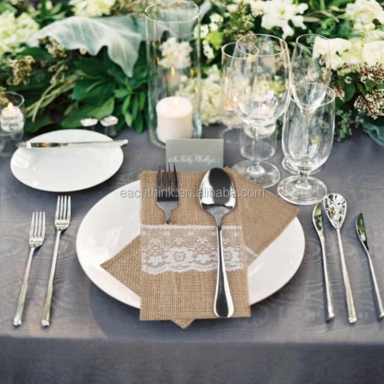 Lace Linen Cutlery Pocket Rustic Wedding Tableware Packing Knife Fork Burlap Holder