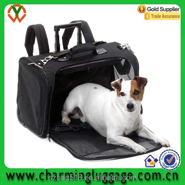 wholesale cheap factory direct sale pet carrier bag with trolley/travel pet carry bag