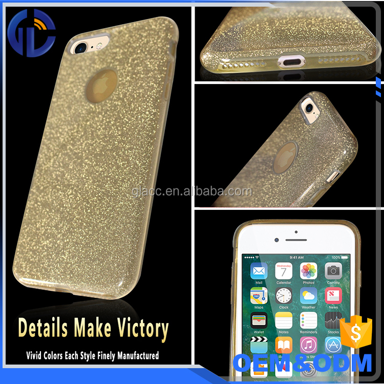 3 IN 1 TPU PC Glitter Powder Case for IPhone 7 Stylish Powder Bling Glitter Case Cover