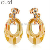 New arrivals fashion crystal gold plated drop earrings