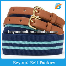 Beyond Men Women Fashion Blue Striped Fabric Jean Belt with Double Leather Tab