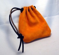 Orange Suede Leather Belt Pouch With Drawstring