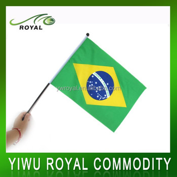 Custom Brazil Fans Waving Mini Stick Polyester Held Hand Flag