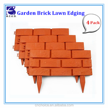 "F2354 garden supplies home accessory PP plastic 18"" brick lowes stone fence lawn edging(4pack)"