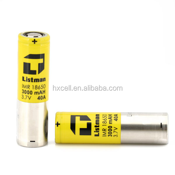 Rechargeable listman battery 3.7v 18650 battery hot sale Listman/Listman yellow battery 18650 IMR 3000mah 40A