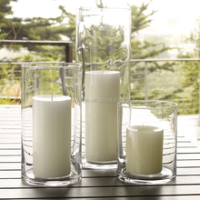 glass hurricane cylinder votive candle holder/glass table vases for wedding/cheap glass round cylinder vase