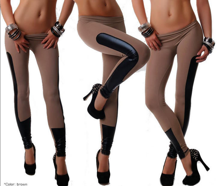 Women Faux Leather Trim Stretch Leggings One Pieces Drop Shipping