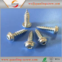 China goods wholesale pan flanged head rohs blue zinc plated security self tapping screw
