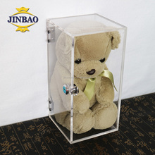 JINBAO Personalized Design Clear Acrylic Material Window Boxes For hat or gem,clear acrylic doll display case