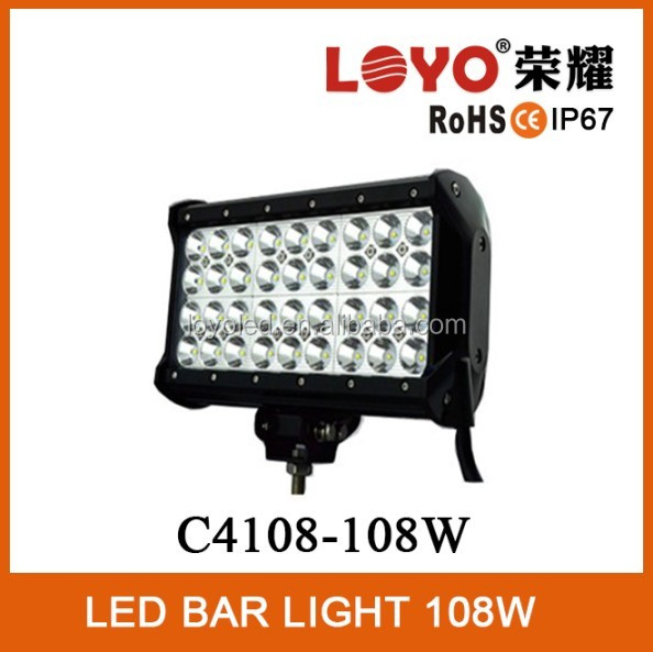 Four Row 9inch 108W LED Light Bar for Off Road SUV UTV ATV 4WD 4X4 led light bar