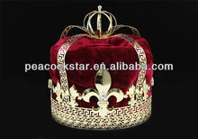 Wholesale Men's Burgundy Red Velvet Deluxe Imperial Medieval Fleur De Lis Gold King Crown CT1728