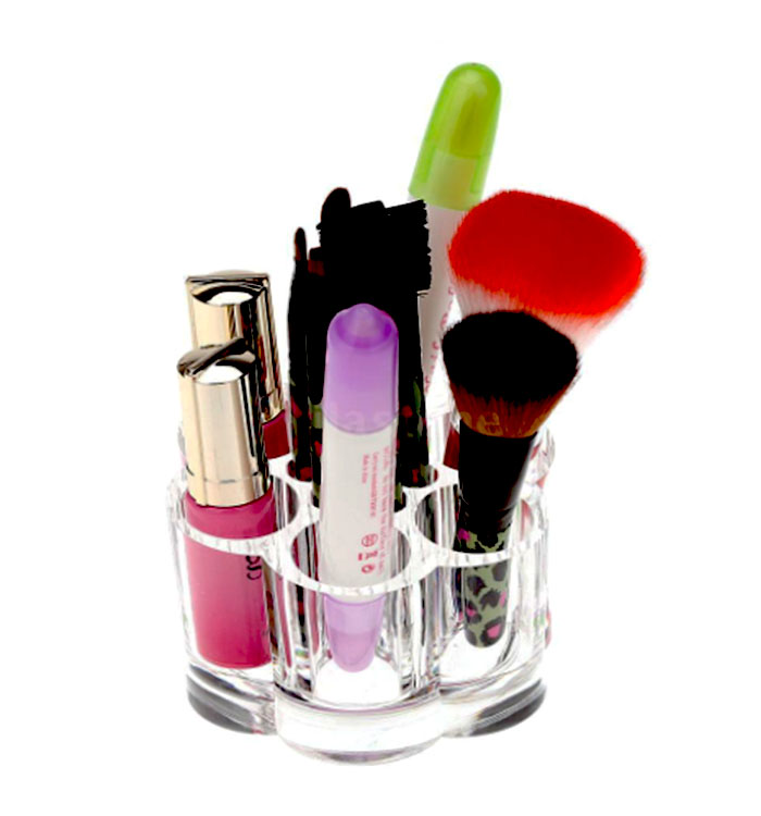 Acrylic Clear Makeup Cosmetic Brush Lipstick Stand Display Organizer Box Case