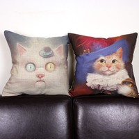 Creative Cartoon Noble Cat Design Pillow Home Decorative Cushion Cover