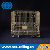 Stackable welding foldble europe steel collapsible metal warehouse storage cage with wheels