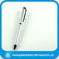 new design silver body and black clip metal silver twist pen