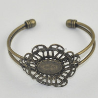 Flower Shape Beautiful Fillagree Wholesale Brass Bangle Jewelry Findings On Line