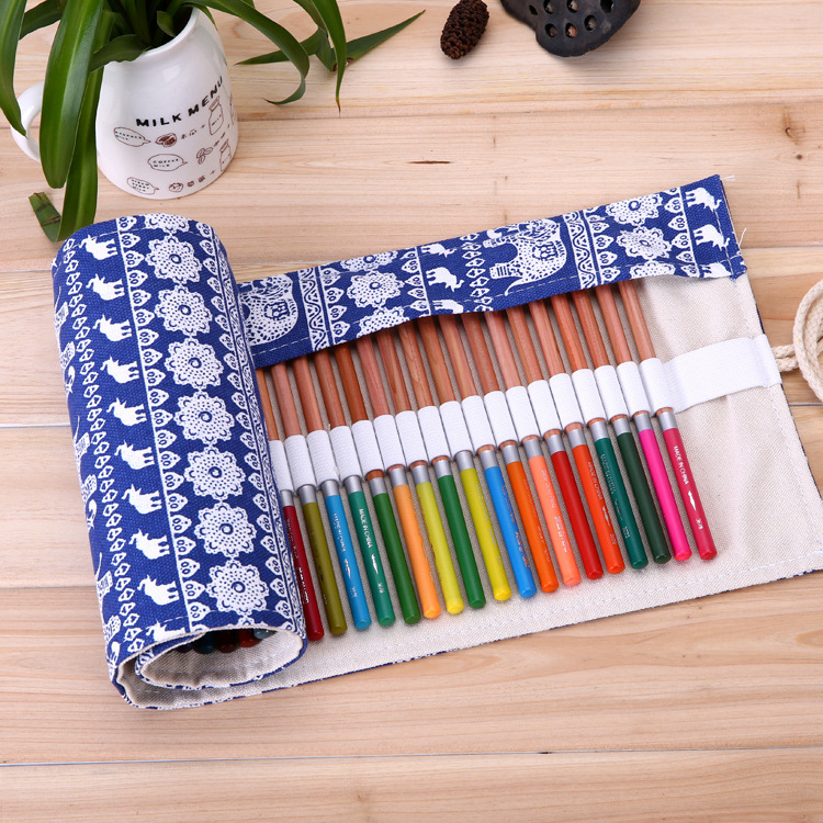 36 Holes Rolling National Style Canvas Elephant Flower Beautiful Pencil Case