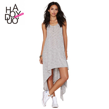 HAODUOYI 2015 Summer Women Irregular Hem Sun Dress Sleeveless Casual Slim Dresses for Wholesale