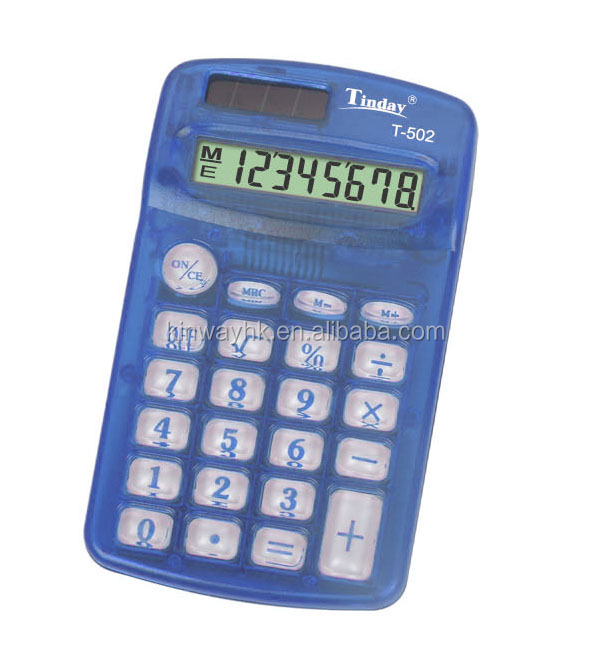 The lowest price AA battery transparent mini 8 digits pocket calculator