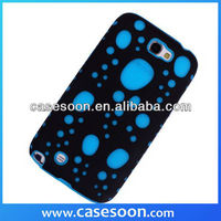 Silicone Gel PC Hybird Glow Bubbles Case Cover For Samsung Galaxy Note2 N7100 case,For Galaxy note2 Hybird Case