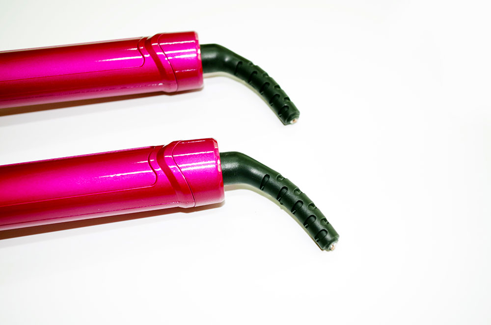 Private label hair roller comfortable handle for making wavy hair PINK color