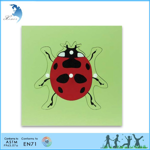 Wooden Montessori Materials,Educational Wooden Toys,Montessori Parts of a Lady Bug Puzzle