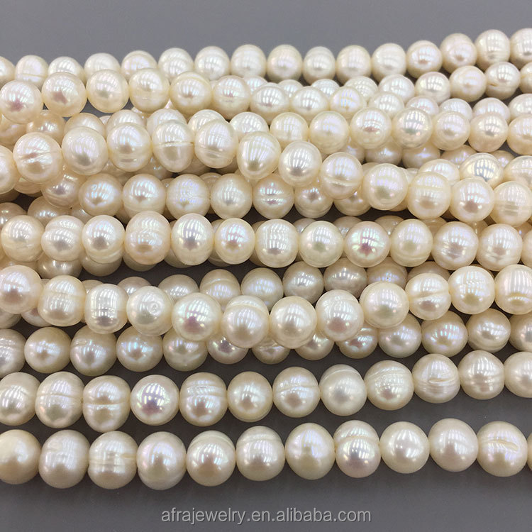 8-9mm Accept Large Hole Fresh Water Potato Round Pearl Beads