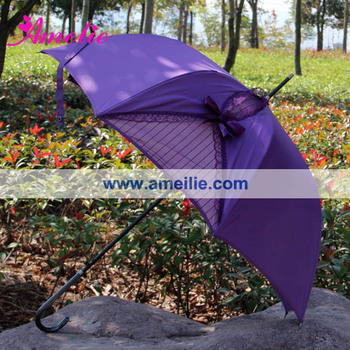 Gothic Lolita Purple Cocktail Umbrella with Butterfly