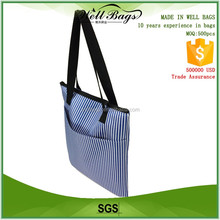 custom blue vertical striped pattern 600D Polyester Oxford cloth fabric zipper tote shopping students bag with outside pocket
