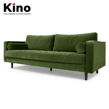 Nordic velvet fabric green three seats sectional sofa American country living room sofa design