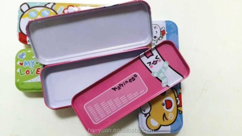 Cute kids pencil-box double layer alloy pencil case for promotion gift