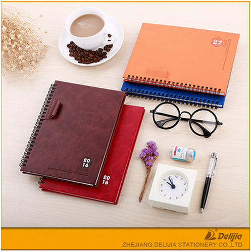 High quality offcice leather cover A5 spiral binding journal printing