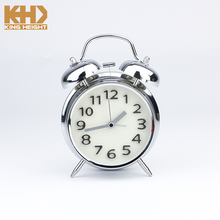 KH-0240 Classic Double Bell Plated Metal Clock Quartz Sweep Movement Silent Table Desk Alarm Clock