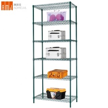 Green powder coated surface metal frame 5 layer assembly store display <strong>shelf</strong>