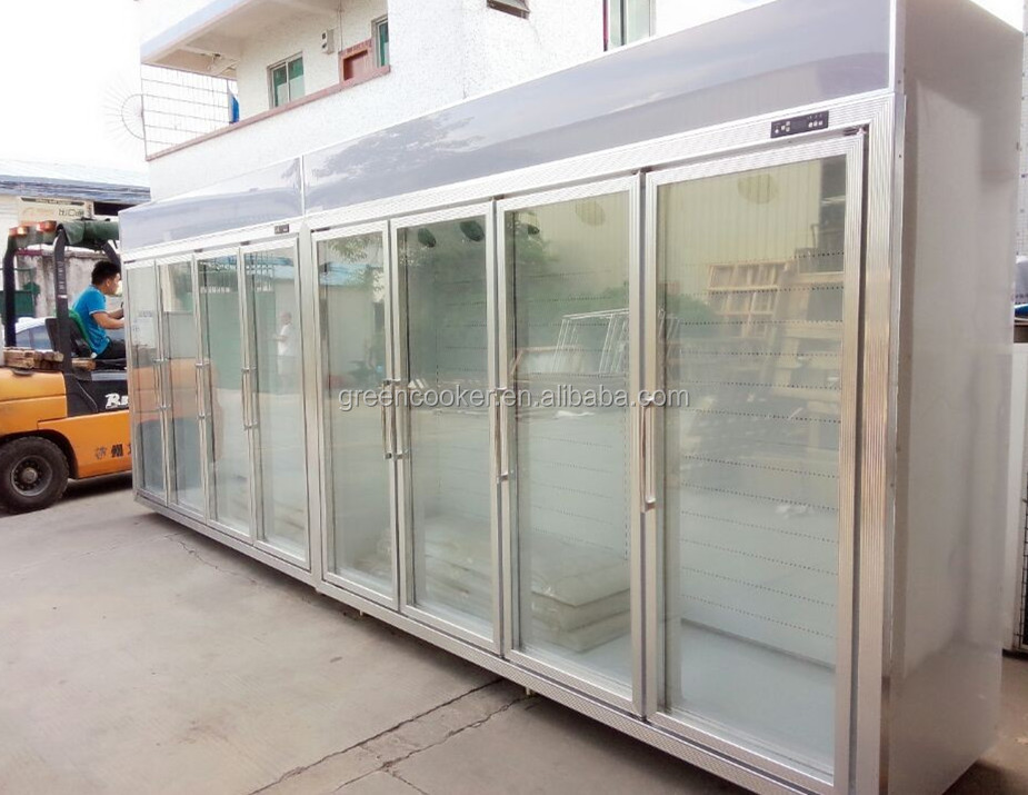 upright glass door chiller 8 doors commercial refrigerator