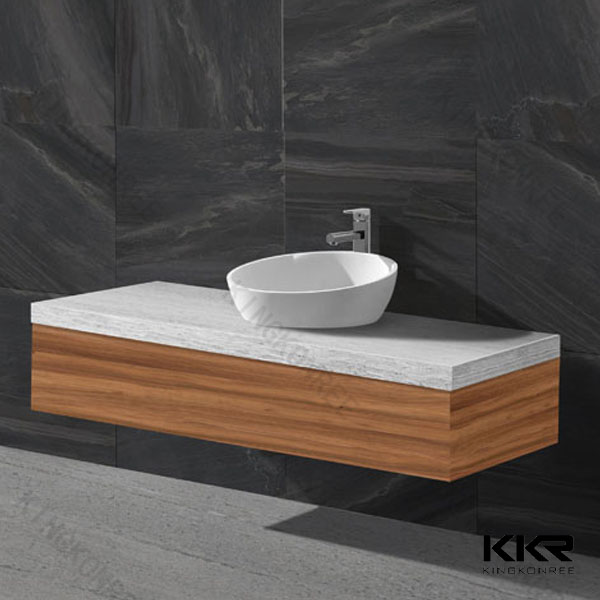 Wood cabinet solid surface wash basin