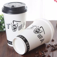 insulated 14 oz hot coffee paper cup with ps lids black