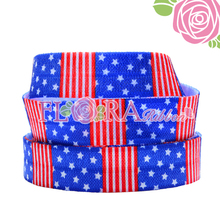 America Flag Style of Print Fold Over Elastic Ribbon for Baby Headbands