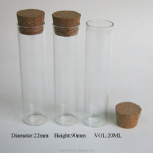 20ml hot sale flat bottom clear glass empty tube with cork