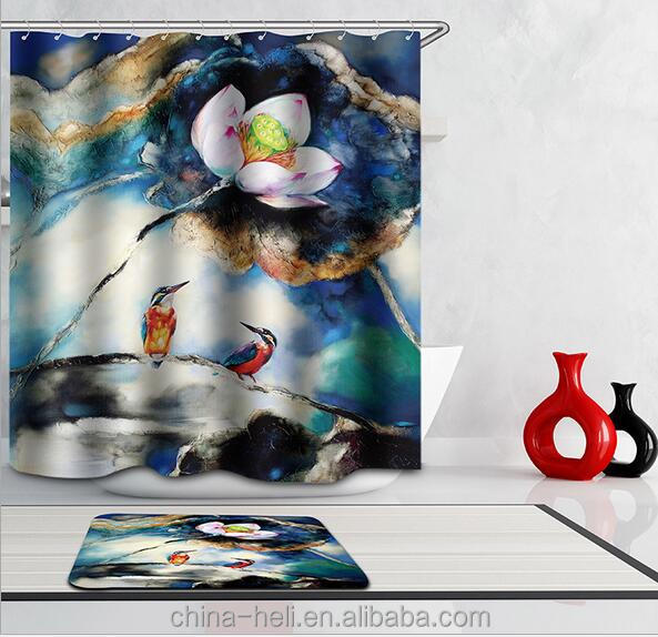 Birds Design Digital Printing Shower Curtain