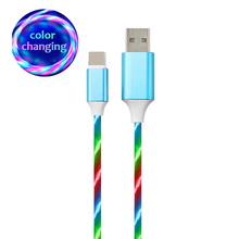2019 fast charging 2.0 USB cable data transfer light up LED flow cable charger charging type c micro LED cable