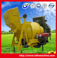 Concrete Mixer with diesel engine and hydraulic tipping hopper