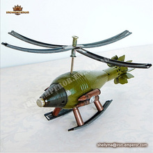 Metal crafts Helicopter models green airplane handmade crafts for decoration