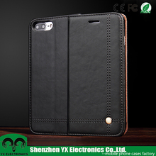 Magnetic black card slot wallet flip luxury grain oil leather case for iphone 7 7 plus