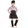 pine nut printed black lace covered baby girls ruffled dresses