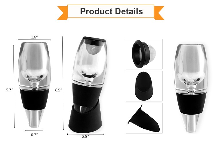 Low Price portable easy travel Wine Aerator Includes Base