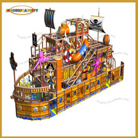 Exciting Wooden material Pirate Boat indoor playground equipment