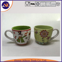 Snow man pattern printed with inner color cheap stoneware ceramic coffee/tea mug with handle