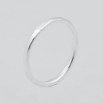 Plain 925 Sterling Silver Hammered Midi Ring