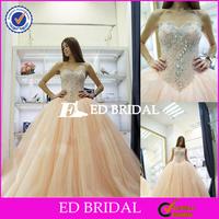 Custom Made Beaded Ball Gown Tulle Light Peach Wedding Dress 2016